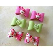 Lacinho com Velcro - Rosa/Verde/Floral