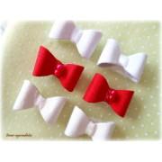 Lacinho com Velcro - Vermelho/Branco/Cru