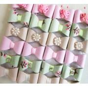 Lacinho Autocolante Verde/Bege/Rosa Para Bebê