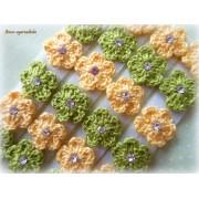 Lacinho Florzinha de Crochê Verde/Amarelo