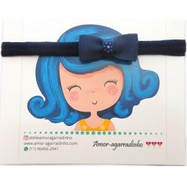 Faixa de Meia Slim Azul Marinho Laço Duplo de Gorgurão com Flor de Pérolas