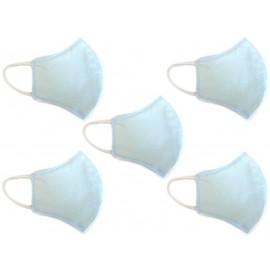 Kit Máscara de Proteção Anatômica Lavável Malha Dupla Face 100% Algodão Azul Claro