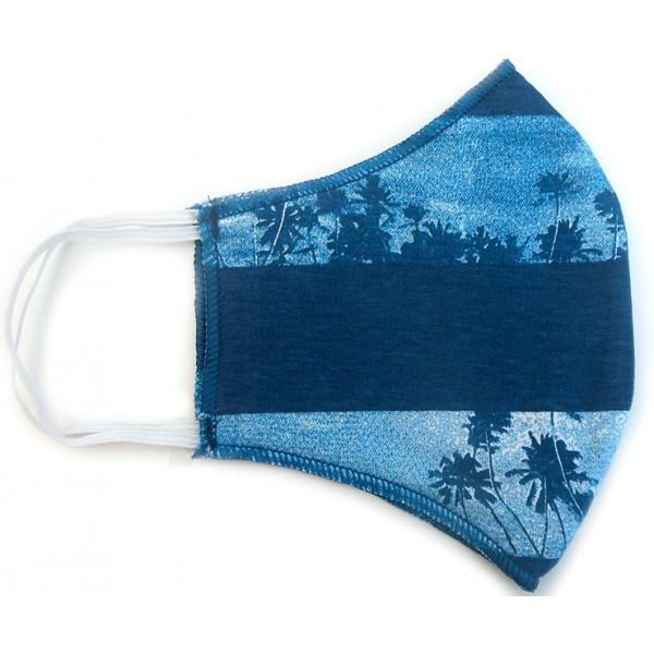 Máscara de Proteção Anatômica Lavável Malha Dupla Face 100% Algodão Azul Praia