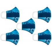 Kit Máscara de Proteção Anatômica Lavável Malha Dupla Face 100% Algodão Azul Praia