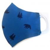Máscara de Proteção Anatômica Lavável Malha Dupla Face 100% Algodão Azul Urso
