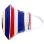 Máscara de Proteção Anatômica Lavável Malha Dupla Face 100% Algodão Listrada Azul e Vermelho
