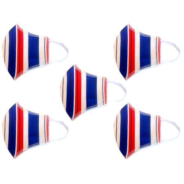 Kit Máscara de Proteção Anatômica Lavável Malha Dupla Face 100% Algodão Listrada Azul e Vermelho