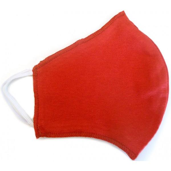 Máscara de Proteção Anatômica Lavável Malha Dupla Face 100% Algodão Vermelha