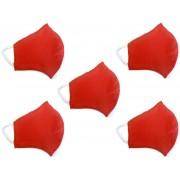 Kit Máscara de Proteção Anatômica Lavável Malha Dupla Face 100% Algodão Vermelha