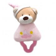 Mordedor para Bebê com Chocalho Urso Rosa