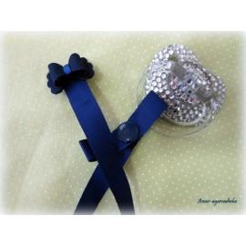 Prendedor de Chupeta Laço Azul Marinho