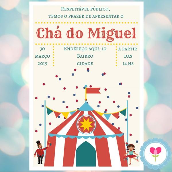 Convite Digital Whatsapp Cha De Bebe Circo