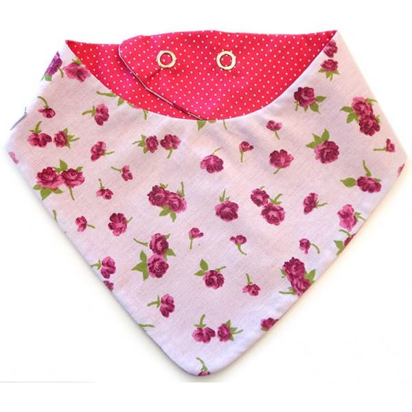 Babador Bandana Dupla Face Menina Flora Rosa com Bolinha Pink