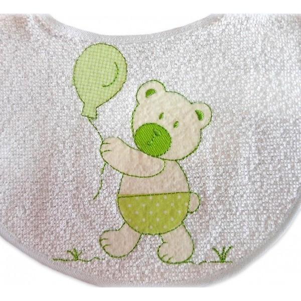 Babador de Bebê e Fralda de Boca Ursinho Verde