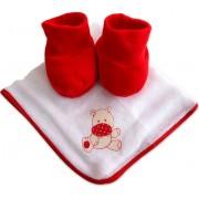 Fralda de Boca com Sapatinho de Bebê Vermelho
