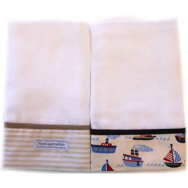 Kit de 2 Fraldas de Boca para Bebê com Barrado de Algodão Barquinhos