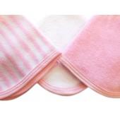 Kit 3 Paninhos de Boca Atoalhados Rosa para Bebê Zip Toys