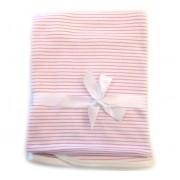 Manta de Malha Antialérgica Listrada Rosa e Branco para Bebê Menina