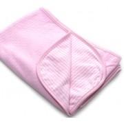 Manta Térmica Dupla Face Poá/Listras Rosa para Bebê Menina