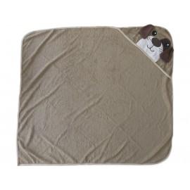 Toalha de Banho para Bebê com Capuz Cachorro + Paninhos de Boca