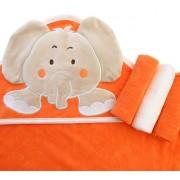 Toalha de Banho para Bebê com Capuz Elefante + Paninhos de Boca