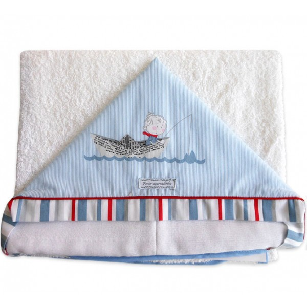 Toalha de Banho com Capuz para Bebê - Marinheiro