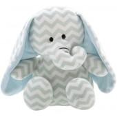Bichinho Elefante Lelo em Plush Antialérgico Chévron com Chocalho Bebê Zip Toys