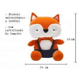 Bichinho Pelúcia Raposa Plush Antialérgico Brinquedo para Bebê Zip Toys com Certificado do Inmetro