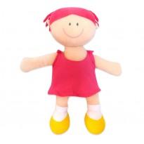 Boneca de Pano Menina Rosa em Tecido Antialérgico com Certificado do Inmetro