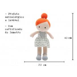 Boneca de Pano Ruiva Mari Menina em Tecido Antialérgico com Certificado do Inmetro