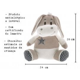 Bichinho Pelúcia Burrinho Chico Tecido Antialérgico com Chocalho para Bebê Zip Toys