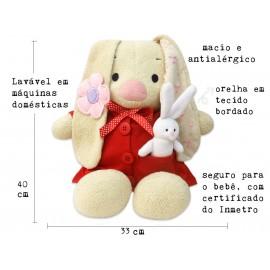 Bichinho de Pelúcia Coelha em Tecido Antialérgico Menina com Certificado do Inmetro