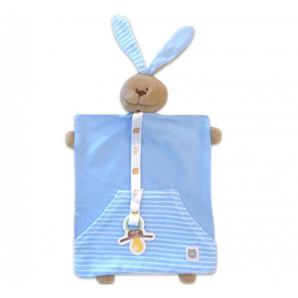 Naninha Coelho Azul com Bolso Cheirinho para Bebê Dormir com Prendedor de Chupeta