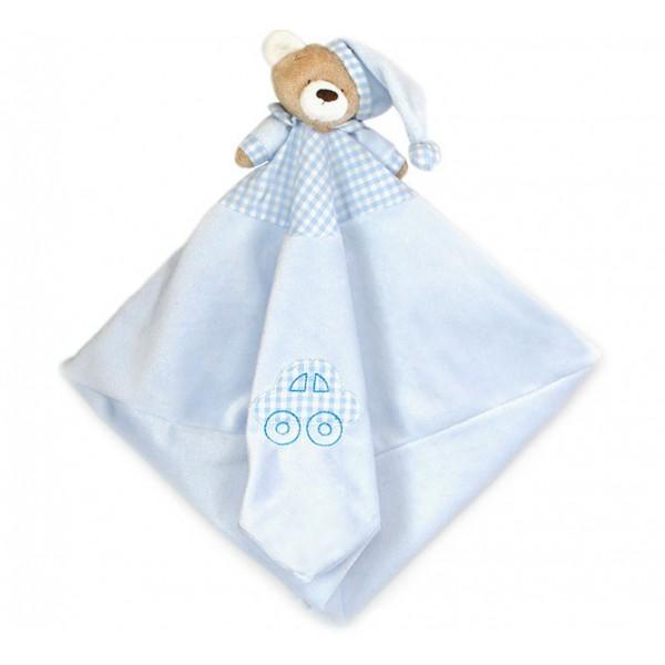 Naninha Ursinho Azul Cheirinho para Bebê Dormir com Prendedor de Chupeta