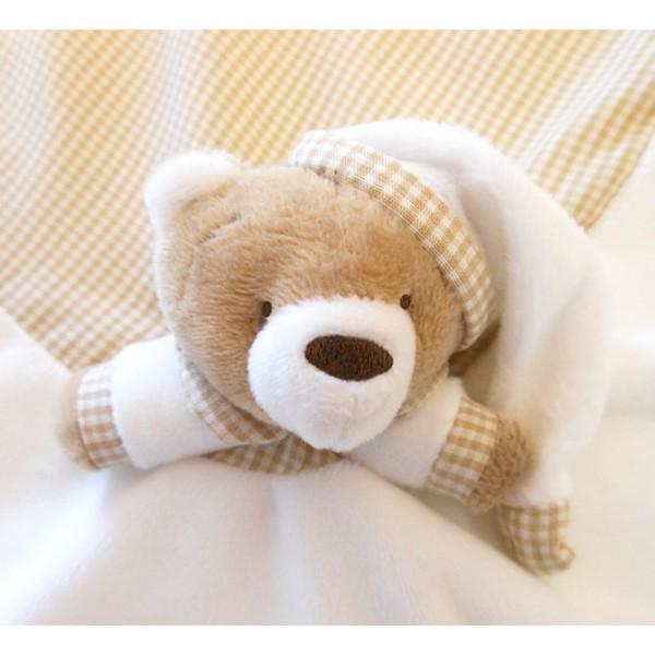 Naninha Ursinho Cru Cheirinho para Bebê Dormir com Prendedor de Chupeta Zip Toys