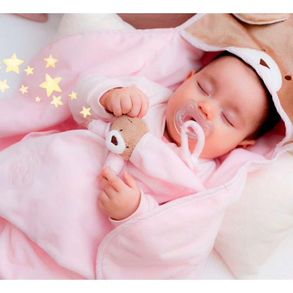Naninha Ursinho Rosa Cheirinho para Bebê Dormir com Prendedor de Chupeta Zip Toys