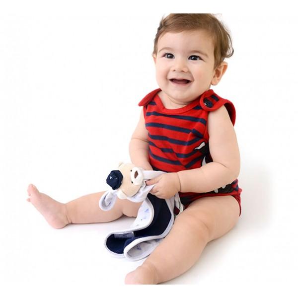 Naninha Ursinho Marinheiro Cheirinho para Bebê Dormir com Prendedor de Chupeta