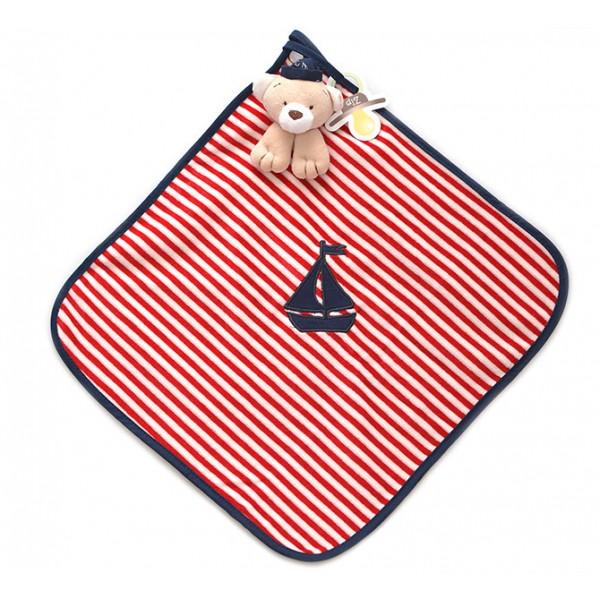 Naninha Menino Ursinho Marinheiro Cheirinho para Bebê Dormir com Prendedor de Chupeta Zip Toys