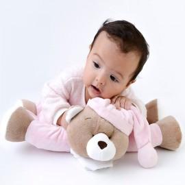Naninha que Vira Travesseiro Ursinho Nino Rosa Bichinho Antialérgico Zip Toys