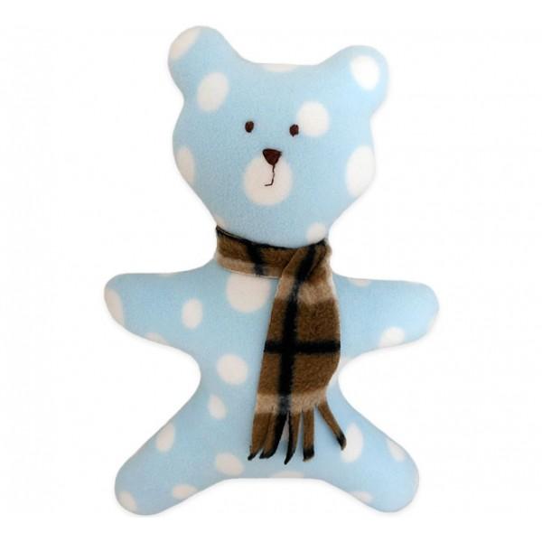 Ursinho de Tecido Naninha Azul com Bolinhas Amor-agarradinho
