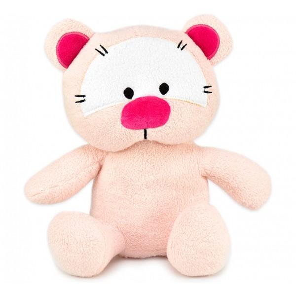 Urso Gatinho em Tecido Antialérgico com Chocalho Bebê Menina