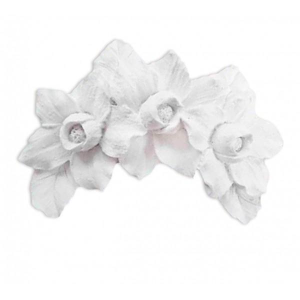 Aplique Resina Arabesco Cantoneira 3 Flores