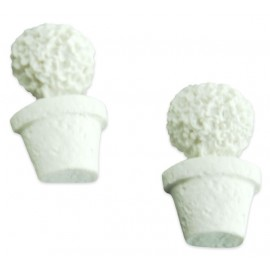 Aplique Resina com 2 Vasos de Topiarias