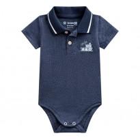 Body Gola Polo Azul Marinho Barquinho para Bebê Menino Brandili