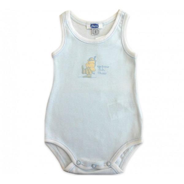 Body Bebê Chicco Regata Azul Hipopótamo Mergulhador Menino 3 Meses