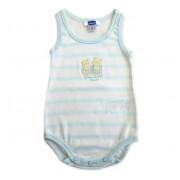 Body Bebê Chicco Regata Azul e Branco Listrado Menino Hipopótamos na Praia 3 Meses / 6 Meses