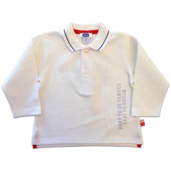 Camiseta Gola Polo Chicco Branca Manga Longa para Bebê Menino 9 Meses