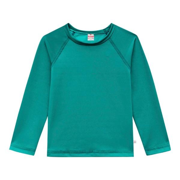 Camiseta Infantil com Proteção Solar UV Manga Longa Verde Unissex Brandili 1-8 Anos