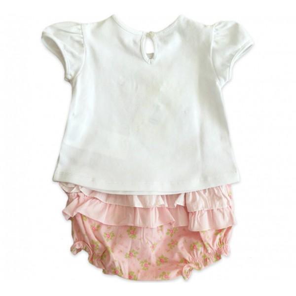 Conj. Bebê Bata e Calcinha Babadinho Floral Chicco Menina 9-12 Meses