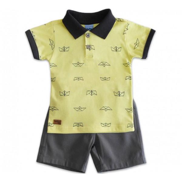 Conj. Camiseta e Bermuda Infantil Barquinhos